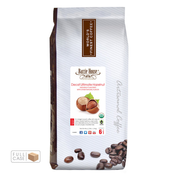 Barrie House Fair Trade Organic Ultimate Hazelnut Decaf 6/2.5 lb Whole Bean Full Case