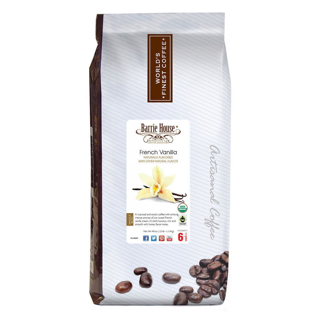 Barrie House Fair Trade Organic French Vanilla 2.5 lb Whole Bean