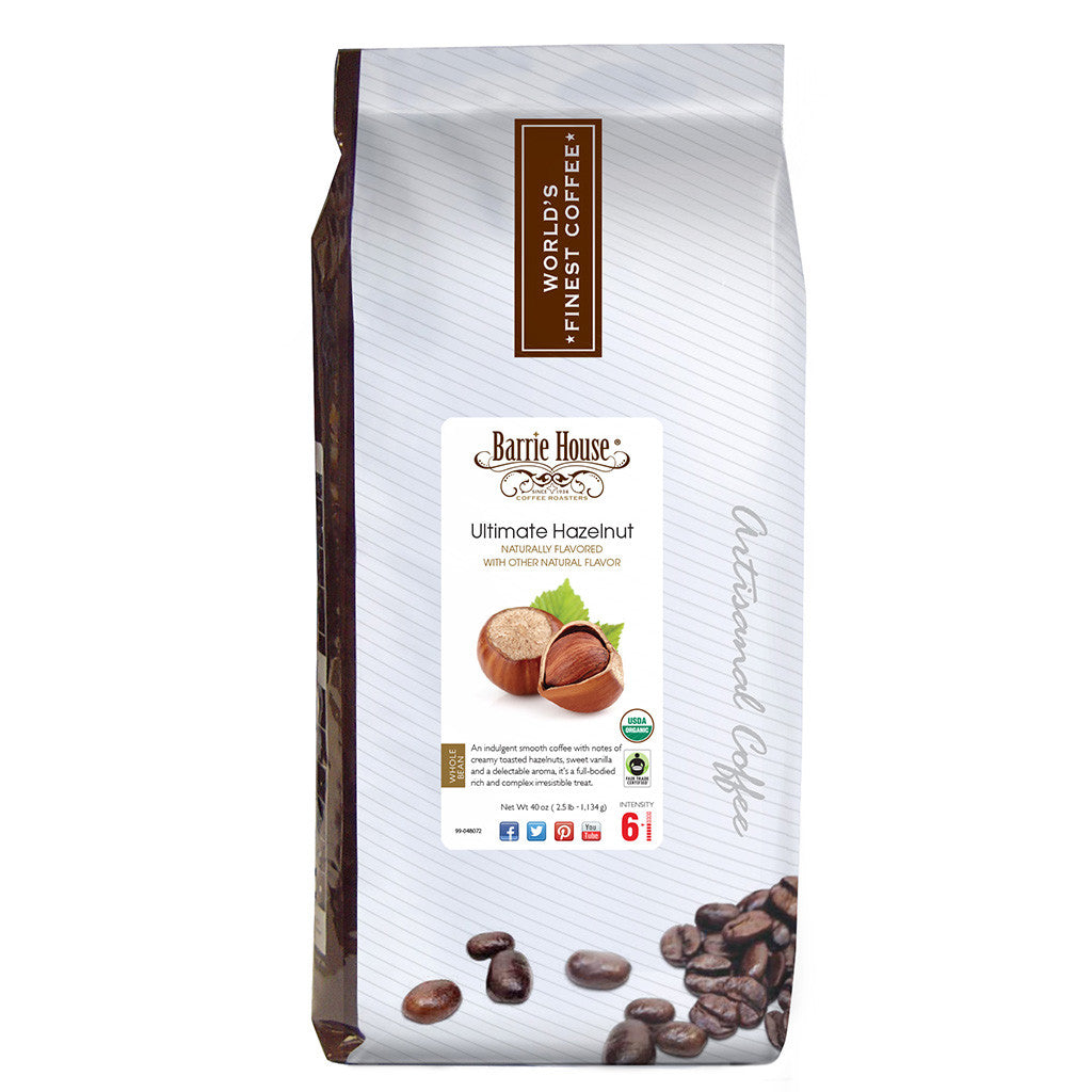 Barrie House Fair Trade Organic Ultimate Hazelnut 2.5 lb Whole Bean