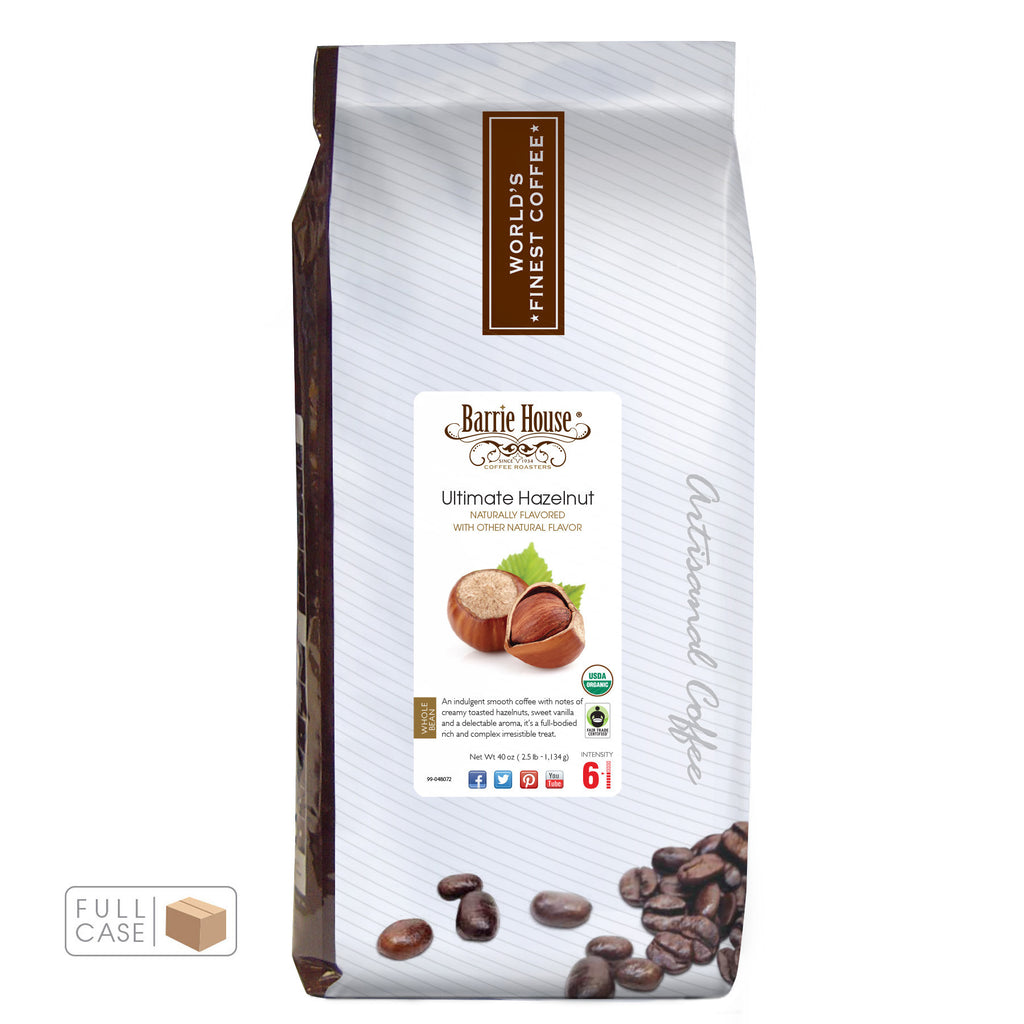 Barrie House Fair Trade Organic Ultimate Hazelnut 6/2.5 lb Whole Bean Full Case