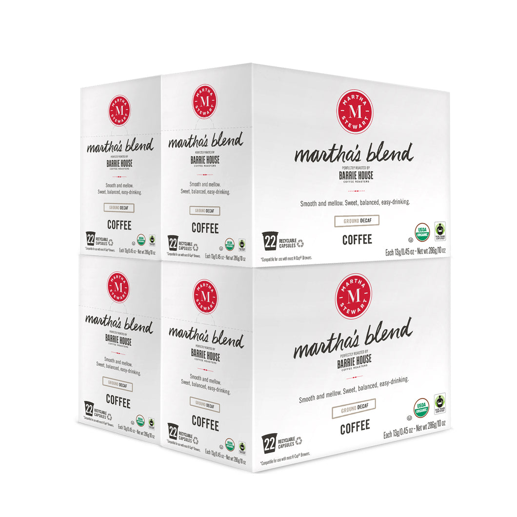 Martha's Blend Decaf<br>Fair Trade Organic Coffee<br>4 boxes / 22 ct Capsules