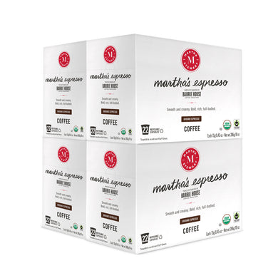 Martha's Espresso<br>Single Serve Capsules<br>4 boxes / 22 ct per box