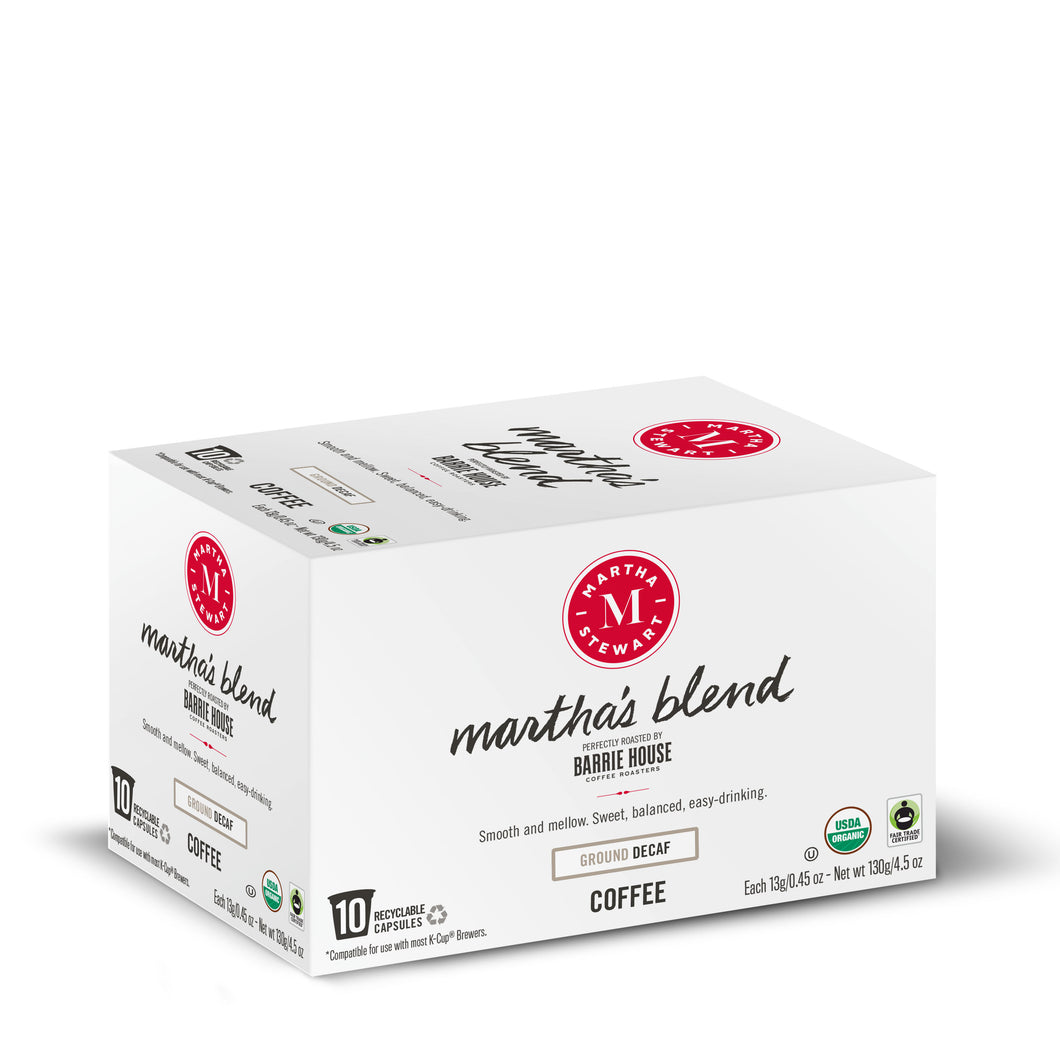 Martha's Blend Decaf<br>Single Serve Capsules<br>10 ct