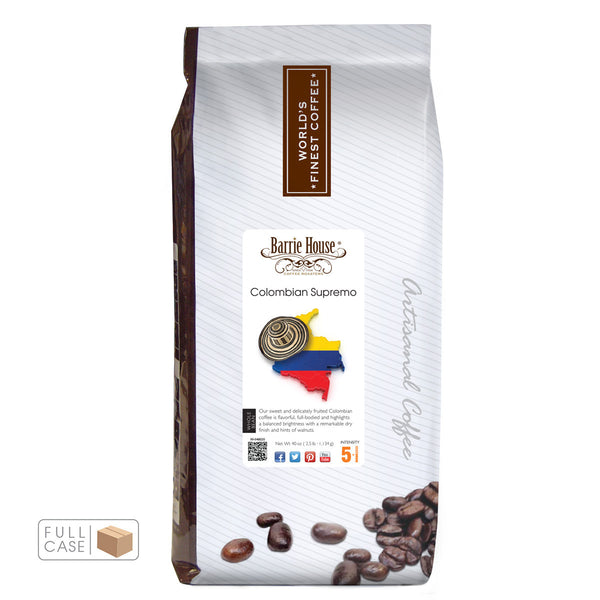 Barrie House Colombian Supremo Whole Bean Coffee 6/2.5 lb