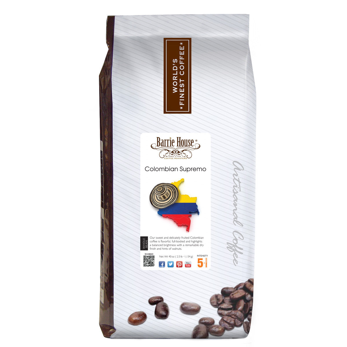 Colombian Supremo<br>Whole Bean<br>2.5 lb Bag