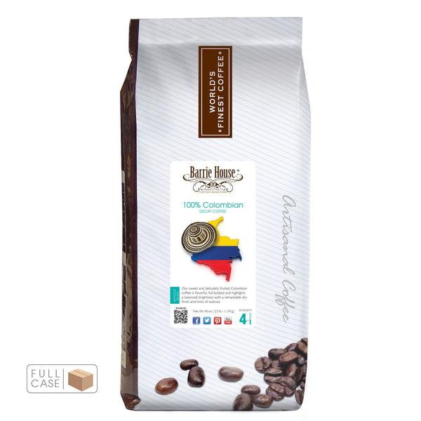 Barrie House Colombian Supremo Decaf Whole Bean Coffee 6/2.5 lb