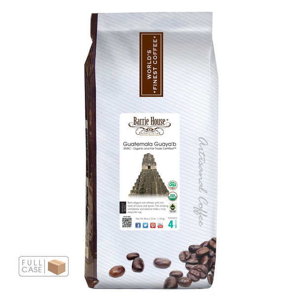 Barrie House Fair Trade Organic Smithsonian Bird Friendly Guatemalan Guaya'b Whole Bean Coffee 6/2.5 lb