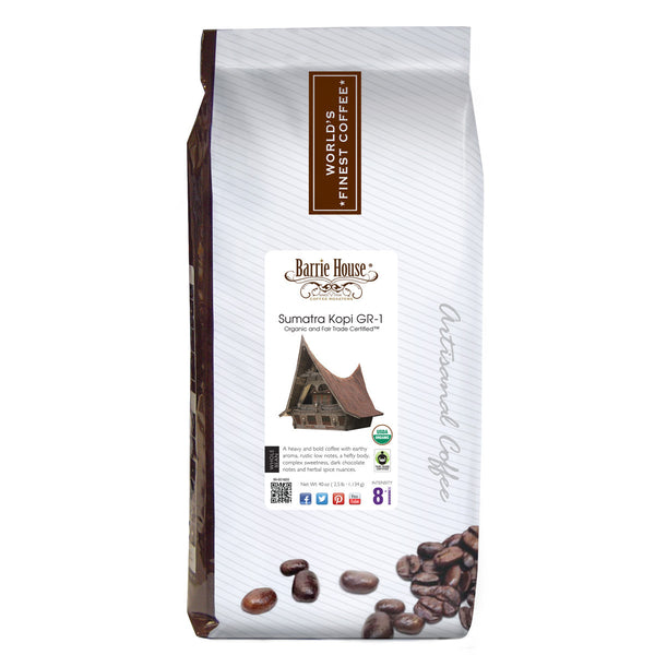 Barrie House Fair Trade Organic Sumatra Kopi GR-1 2.5 lb Whole Bean