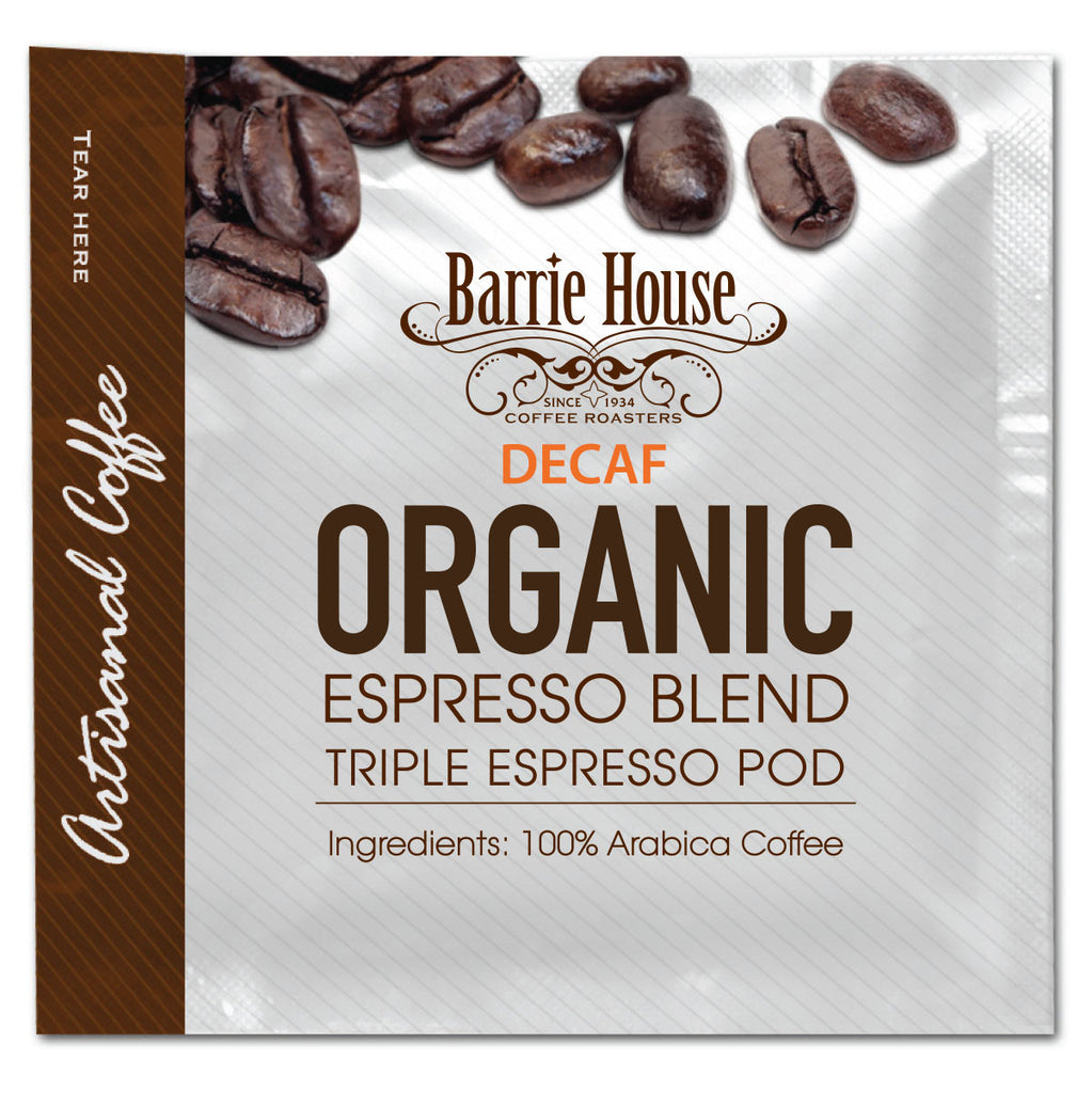 Barrie House Fair Trade Organic Triple Espresso Decaf Pods 75-18 gr