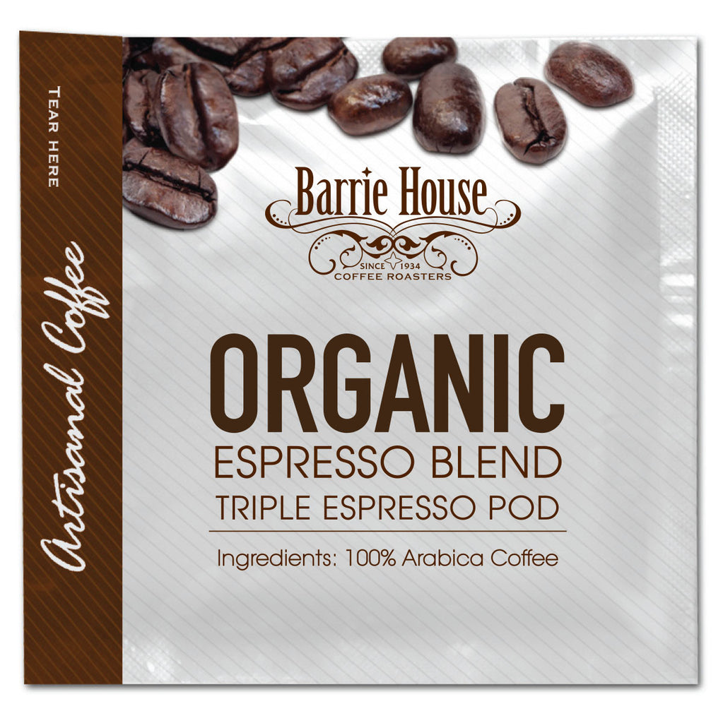 Barrie House Fair Trade Organic Triple Espresso Pods 75-18 gr