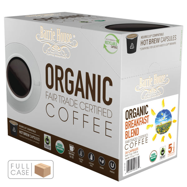 Barrie House Fair Trade Organic Breakfast Blend Single Serve Capsules 4/24 ct