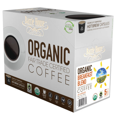 Barrie House Fair Trade Organic Breakfast Blend Single Serve Capsules 24 ct