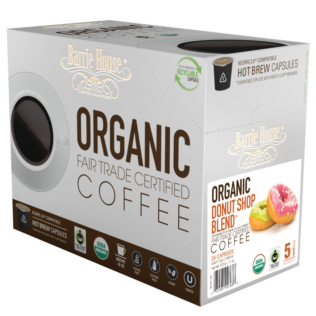 Barrie House Fair Trade Organic Donut Shop Blend Single Serve Capsules 24 ct