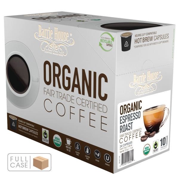 Barrie House Fair Trade Organic Espresso Roast Single Serve Capsules 4/24 ct