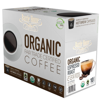 Barrie House Fair Trade Organic Espresso Roast Single Serve Capsules 24 ct