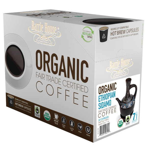 Barrie House Fair Trade Organic Ethiopian Sidamo-DP Single Serve Capsules 24 ct k-cups