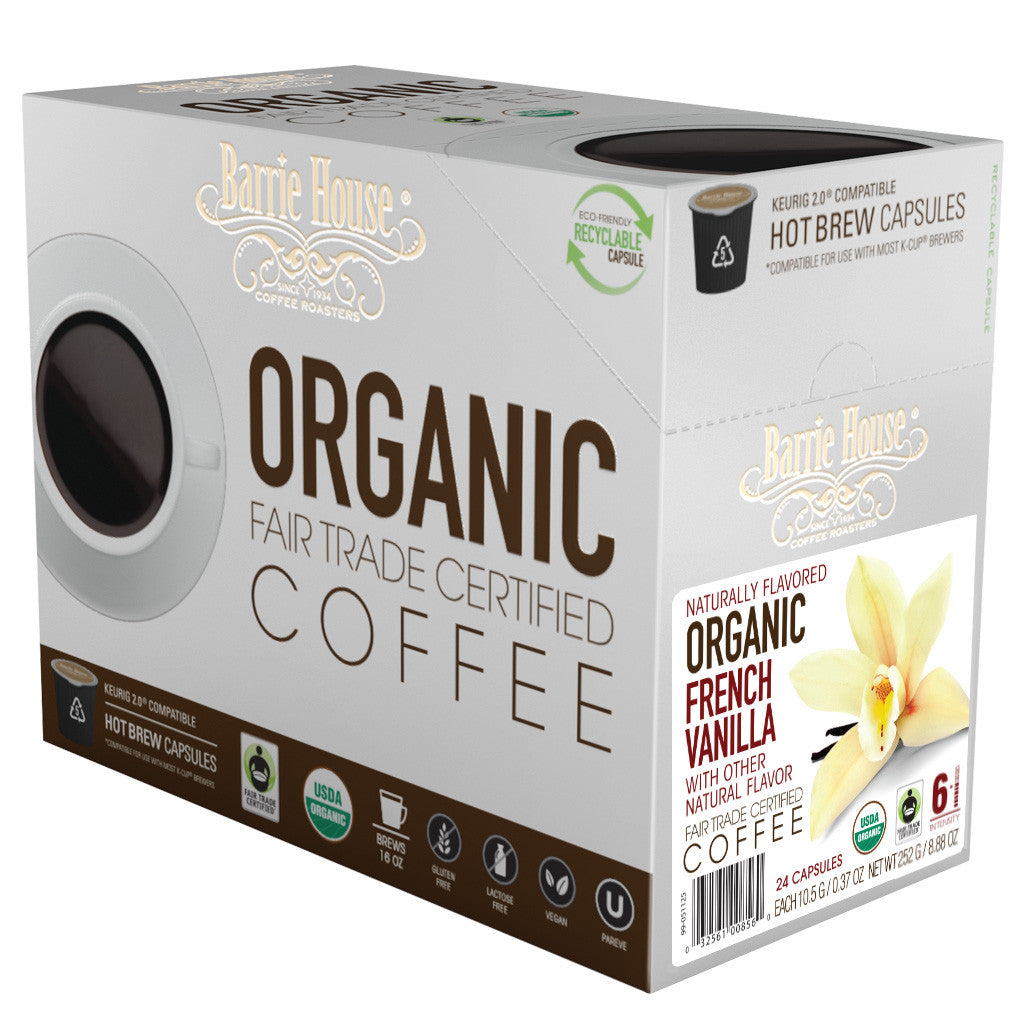 Barrie House Fair Trade Organic French Vanilla Single Serve Capsules 24 ct