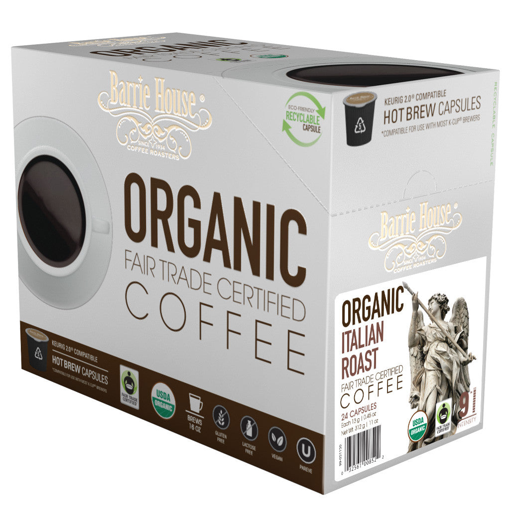Barrie House Fair Trade Organic Italian Roast Single Serve Capsules 24 ct