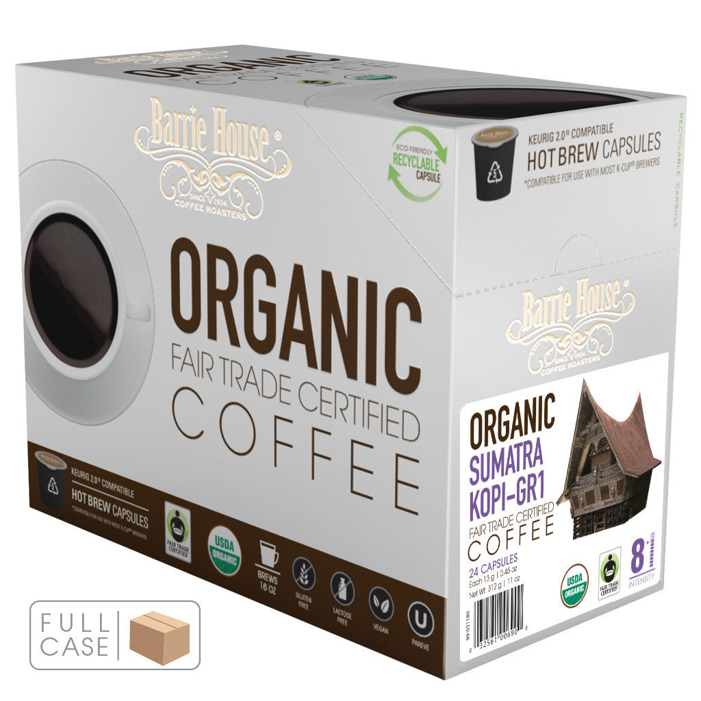 Barrie House Fair Trade Organic Sumatra Kopi GR-1 Single Capsules 4/24 ct k-cups