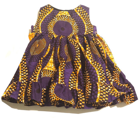African Purple Swirl Dress