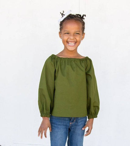 Avocado Green Peasant Blouse