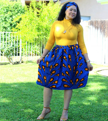 Women's Blue with Orange Skirt