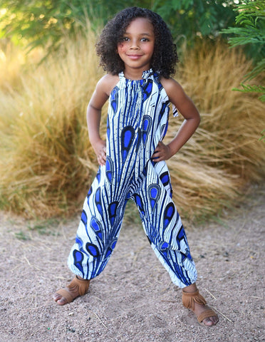 African White with Blue Jumpsuit