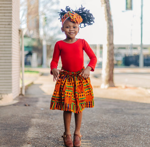 Sunset Kente African Print Skirt and Head Wrap