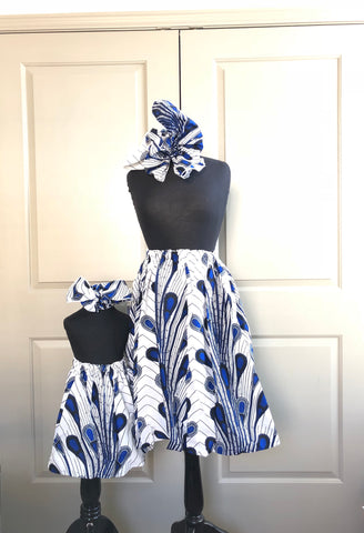 African Mommy and Me Skirt - White with Blue