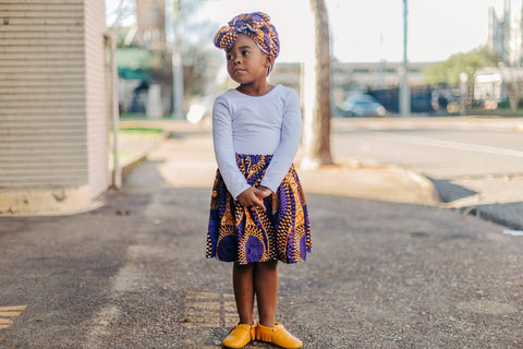 African Purple Skirt and Head Wrap