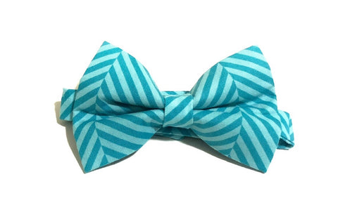 Striped Blue Pre-Tied Bow Tie for Boys and Men. Makes a perfect gift for Christmas or Father's Day.