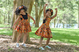 Orange Kente Pinafore Dress
