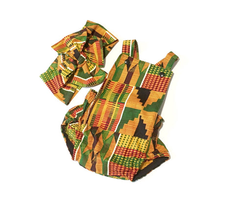 African Kente Baby Romper with Head Wrap