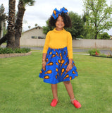 Girl's African Skirt Set - Blue with Orange Print