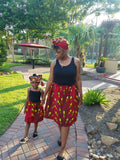 African Mommy and Me Skirt - White with Red