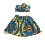 African Blue Skirt and Head Wrap