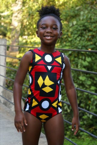 African print red Leotard for girls