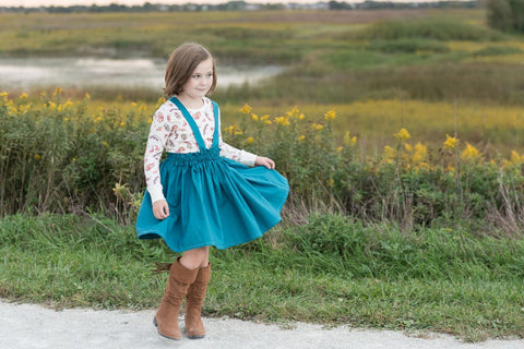Teal Suspender Skirt