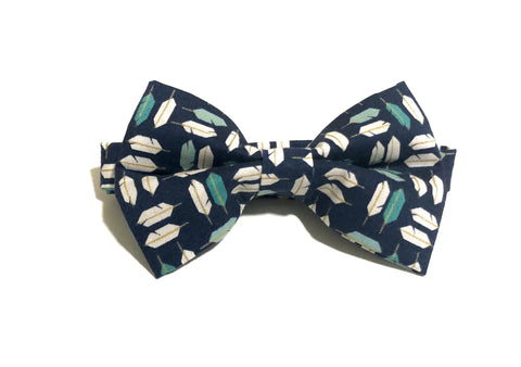 Navy Feathers Organic Cotton Bow Tie