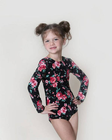 Black Leotard for girls with small roses.