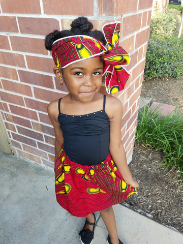 Red with Yellow African Skirt Set