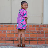 Pink Drops African Dress with Hair Bow