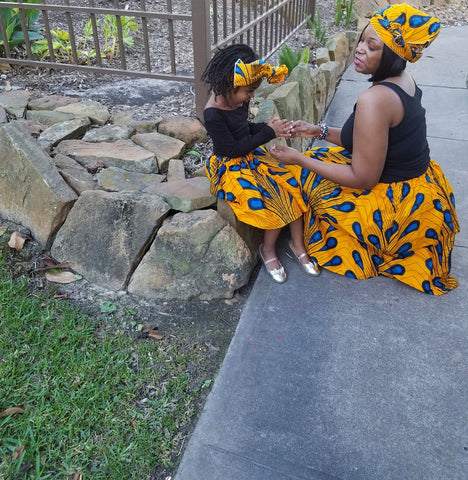 African Mommy and Me Skirt - Yellow with Blue