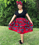 African Mommy and Me Skirt - Red with Blue