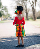 African Tri Color Skirt and Head Wrap