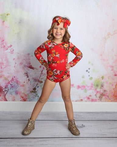 Red Floral Christmas Leotard