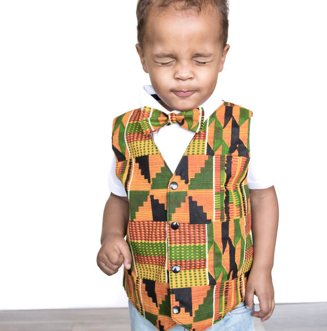 Boy's African Kente Vest and Bow Tie
