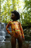 African Print Kente Leotard for Girls