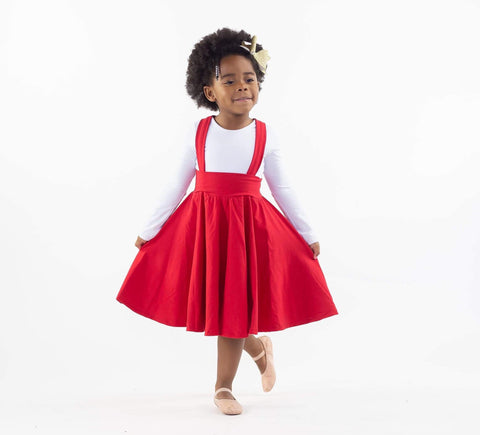 Red Twirl Suspender Skirt
