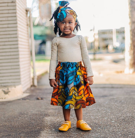 African Print Skirt Set with Head Wrap